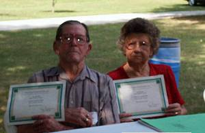 James and Vivian Gregory show their 80+ Certificates