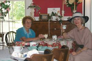 Mary Gregory and Elaine Gregory - Friday teatime at Miss Fannie's Tea Room