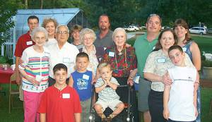 Top Row Gregory and Karen Smith, Charlene and Buzz Boggs, Next Row Frances Gregory, Ben and Alma DeFelice, Myrtle Davis, Paul and Linda DeFelice  Front Row, Andrew Smith, Nicholas DeFelice, Jack Boggs, Mary DeFelice and son Christopher