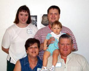 Gayle and Keith Clover with baby Krista, Angie and Dwaine Clover